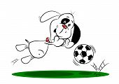 A cartoon dog diving to save a football whilst playing soccer poster