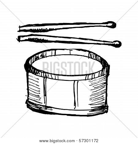 Drum With Drumsticks