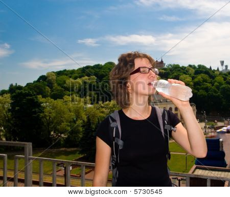 Girl Drinking Water Outdoors