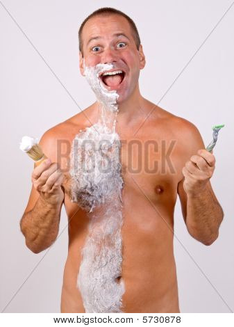 unshaved man with foam isolated on background poster