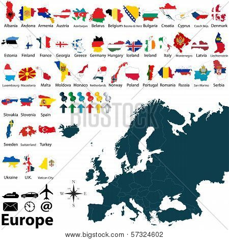 poster of Vector of political map of Europe set with maps and flags on white background