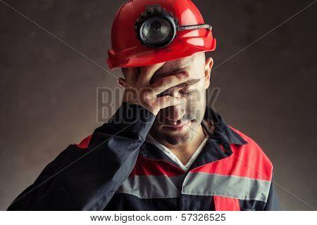 Portrait Of Tired Coal Miner
