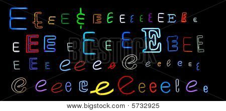 neon letter E collection