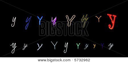 neon letter Y collection