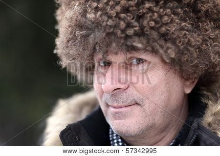 Man In Brown Caucasian Hat