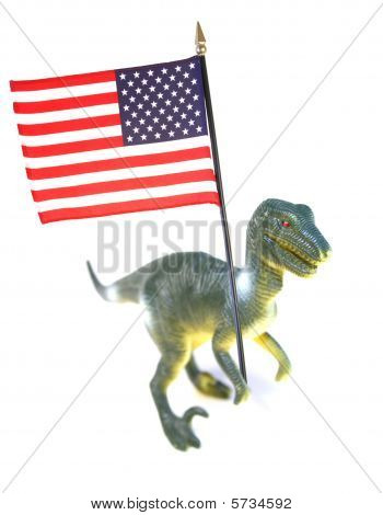 american imperialism symbol. t-rex holding stars and stipes flag of usa isolated on white poster