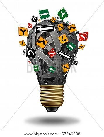 Ideas direction and creative guidance business concept with a group of roads highways and street signs in the shape of a light bulb as a creativity stress metaphor for confused strategy and planning on a white background. poster