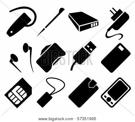 Mobile Phone Accessories Icon Set. This is file of EPS8 format. poster
