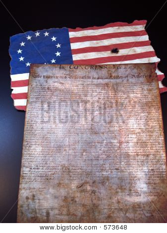The Declaration of Independence and the Betsy Ross Flag poster