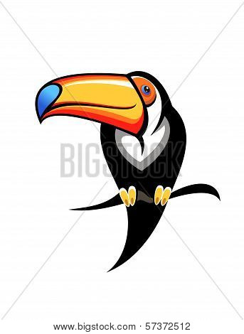Colourful toucan on a branch