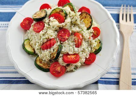 Insalata di Riso, Italian Rice Salad with zucchini and tomatoes