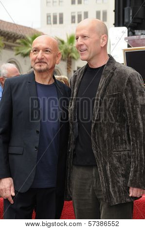 Sir Ben Kingsley, Bruce Willis  at the induction ceremony for Sir Ben Kingsley into the Hollywood Walk of Fame< Hollywood, CA. 05-27-10