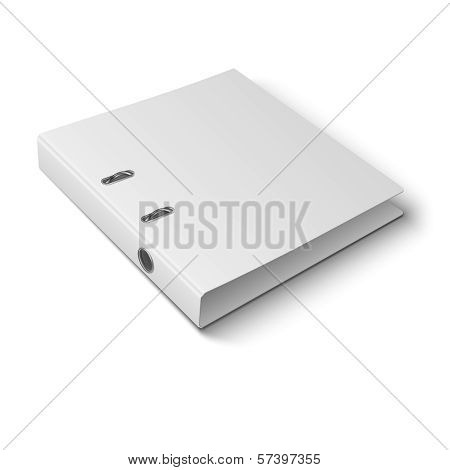 Office binder laying on white background.