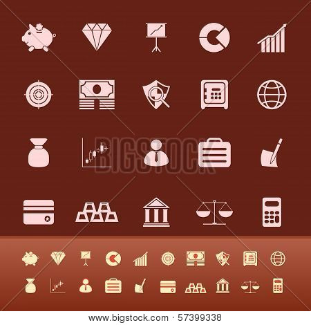 Finance Color Icons On Brown Background