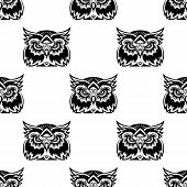 Black and white seamless vector pattern of a cute little wise old owl looking at the camera poster