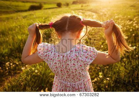 Little Girl With Tails Of Hair