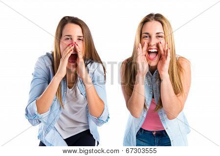 Friends Shouting Over Isolated White Background