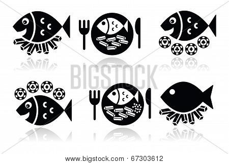Fish and chips vector icons set