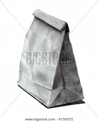 Pencil Drawing of a Brown Bag