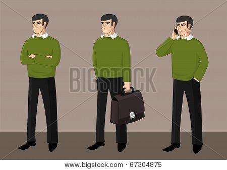 Set of businessman activity
