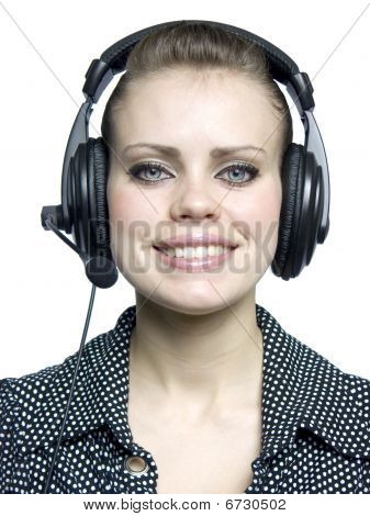 Young Girl  With A Headset
