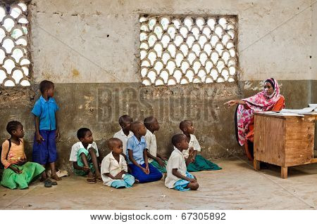 African children in school. Kenya. Mombasa. January 25, 2012