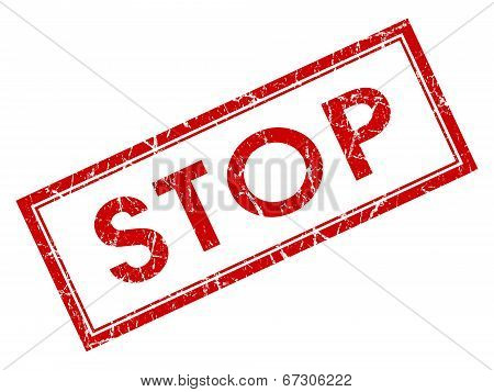 Stop red square grungy stamp isolated on white background poster