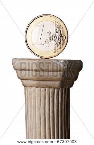 Euro Coin On Greek Column