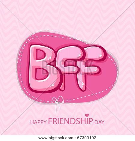 Glossy text BFF on vintage pink background for Happy Friendship Day.