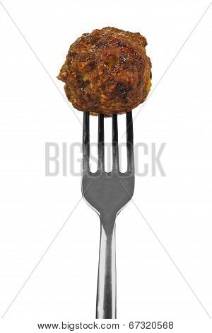 Meatball on fork