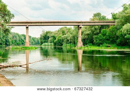 The bridge over the river Seversky Donets