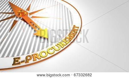 E-Procurement - Golden Compass Needle on a White Background. poster