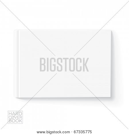 Hard cover horizontal book design template. Vector detailed illustration.
