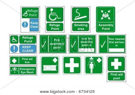 Assembly Point and First Aid Signs vector