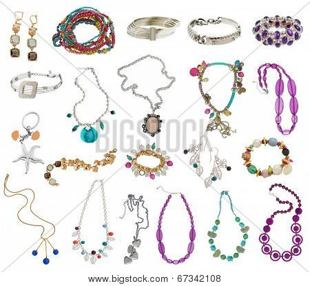 large collection of women's jewelery, isolated on white