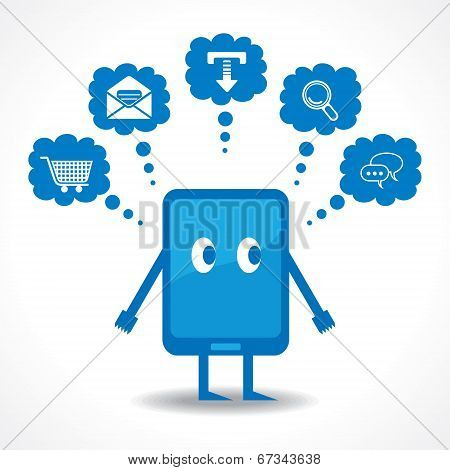 Thinking concept with tablet stock vector