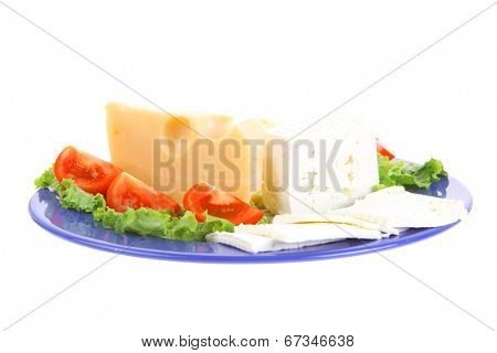 set of gourment delicatessen cheese slice and chunk ( bar)  white goat greek yellow french aged on green lettuce salad with tomatoes on blue plate isolated over white background