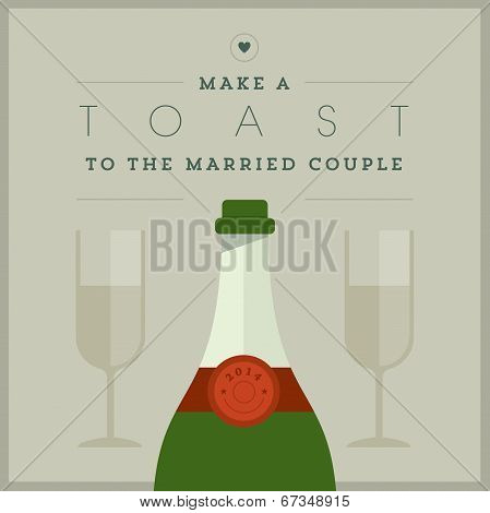 Champagne themed wedding card