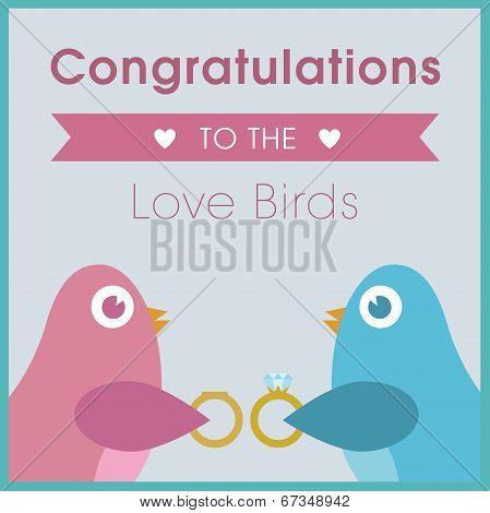 Love birds exchanging rings wedding card