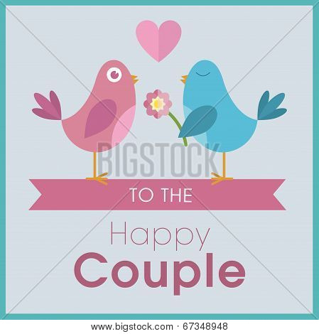 Love birds on a banner wedding card