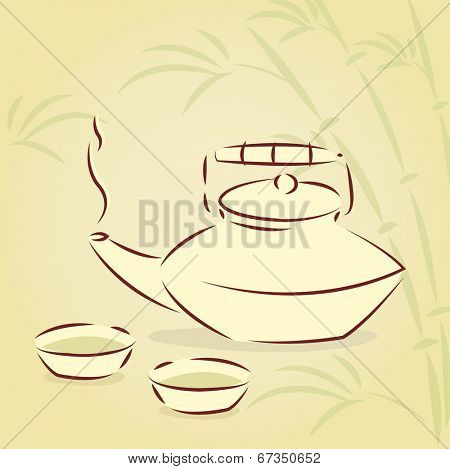 Teapot and two cups over bamboo background