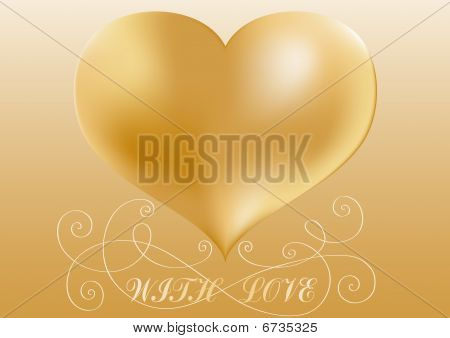 Greeting card with bronze heart