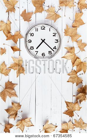 Clock And Leaves