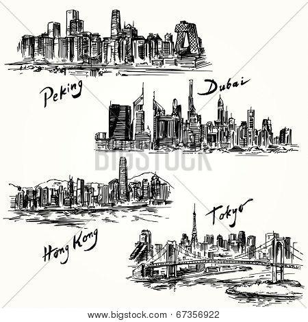 Hong Kong, Tokyo, Dubai, Peking - hand drawn collection