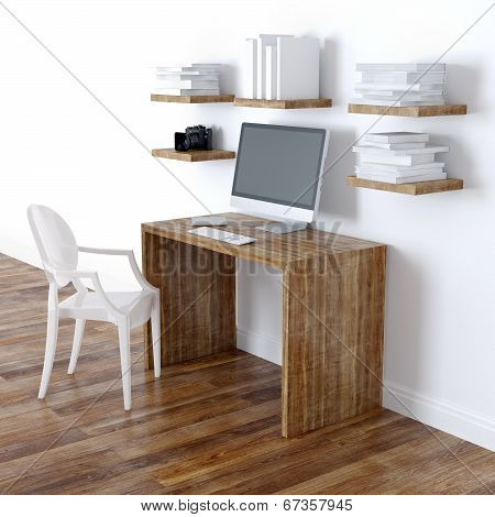 Modern Home Office Interior Design With Bookshelves Perspective View