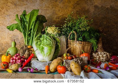 still life Vegetables Herbs and Fruit as ingredients in cooking. poster