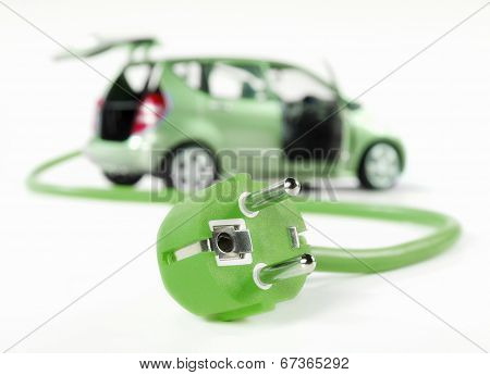 Electric Car With Cable And Plug