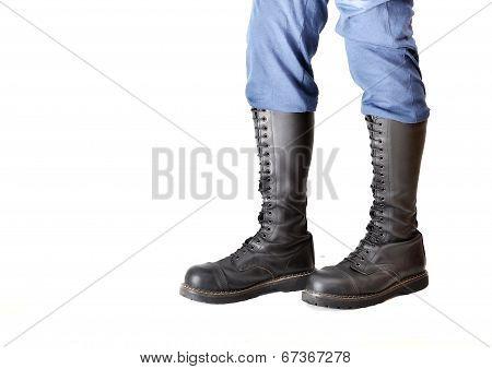 Pair Of Knee-high 20 Eyelet Black Steel-toe Boots