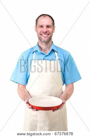 Handsome Man Holding A Dish For Your