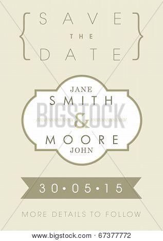 Save the date invitation gold ribbon theme